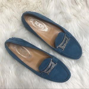 Tod's Blue Suede Rhinestone Driving Loafer